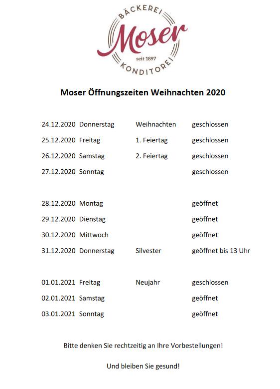 Öffnungszeiten Weihnachten 2020